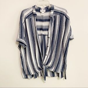 For the republic Striped Button Down Shirt M